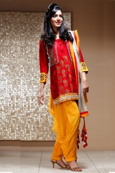Red & Yellow Designer Suit