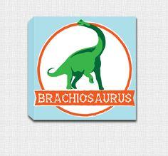 Brachiosaurus - Dinosaur Mounted Canvas Wall Art by JbeeDesign on Etsy
