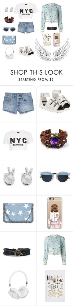 """✌️✌️✌️"" by liligum ❤ liked on Polyvore featuring Levi's, Topshop, Rock 'N Rose, Christian Dior, STELLA McCARTNEY, Casetify, Valentino and Frends"