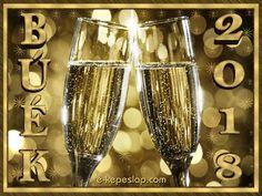 BÚÉK 2018 újévi üdvözlőlap, koccintás a 2018-as új esztendőre. Boldog Újévet!