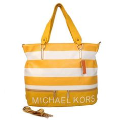 Michael Kors Striped Large Yellow Totes Outlet