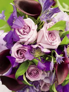 clematis, sterling roses, hydrangeas, sweet pea, burgundy calla lilies and alliums