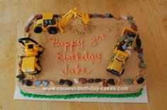 Homemade Construction Truck Birthday Cake: This Construction Truck Birthday Cake is a simple cake to make. I baked two 13 x 9 inch cakes and leveled them with a cake leveler. I used canned chocolate