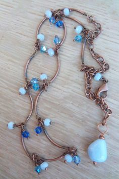 Blue lace agate necklace with copper by mooliemarket on Etsy, $38.00