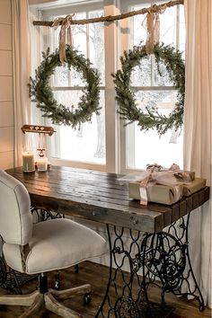 Make these DIY wreaths for FREE without buying a wreath form. Make your own holiday decorations with a few pine tips and hedge branches. This easy craft tutorial will show you how to make these Christmas wreaths and build a rustic window display all wi Christmas On A Budget, Noel Christmas, Elegant Christmas, Christmas Fireplace, Christmas Branches, Fireplace Mantel, Modern Christmas, This Is Christmas, Christmas Porch