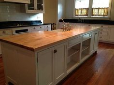Love the butcher's block counter top