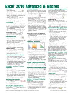 Basic Excel Formulas Cheat Sheet | Excel 2010 Advanced Quick Reference, Cheat Sheet, Guide, Card - Beezix