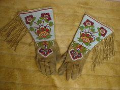 NATIVE AMERICAN SIOUX INDIAN LAKOTA BEADED BUCKSKIN COWBOY GAUNTLET GLOVES | eBay Beadwork, Beading, Gauntlet Gloves, Native American Design, Cowboys And Indians, Sioux, Bead Weaving, American Indians, Nativity