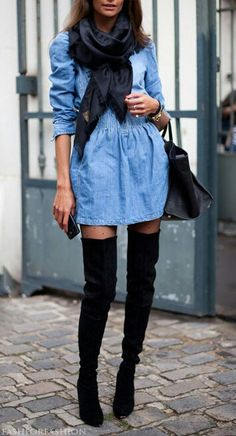 over the knee boots. Dress needs to be a bit longer!