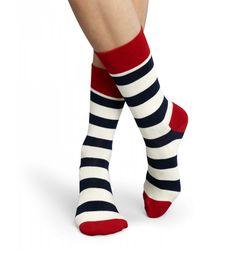 Designer strømper med blå og hvide striber. Happy Socks