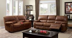 "Wagner Sofa CM6315 Embrace the comfort of this sofa set upholstered in a plush fabric with wide armrests. Recliners have a tilt back feature and are fi nished in brown.• Transitional Style • Adjustable Recliner • Large Padded Arms • Leatherette • BrownDIMENSIONS:Sofa W/ Recliner 88""L X 38 1/2""W X 38""H"