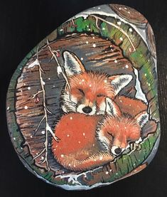 #foxes #stoneart #painting #fox #animal #malpåsten #nature #animals #winter #snow #love #paint #together #art #artistic #artist #creative #myart #art_by_linda