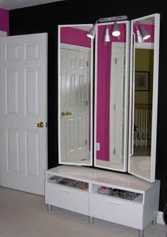 Made with 3 cheap mirrors. Cute idea that would look great in my future walk in closet!!  =oD