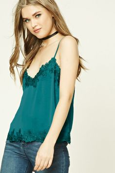 Lace-Trimmed Satin Cami