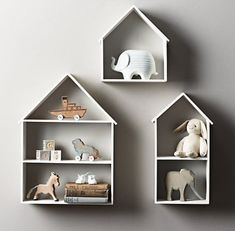 Shelves for a baby or child's room (via Mommo Design). Baby Bedroom, Nursery Room, Boy Room, Kids Bedroom, Child's Room, Cool Shelves, House Shelves, Ikea Wall Shelves, Grey Shelves