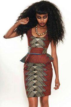 African print peplum dress