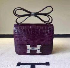 Hermes 18cm 23cm Constance Bag in Crocodile Leather Purple Hermes Constance  Bag d048ca8dc1fc0