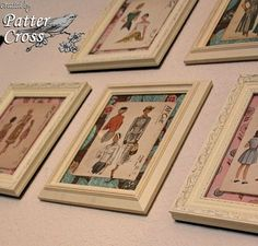 This is a really cute idea to put over my sewing machine area! Now to find some vintage patterns!