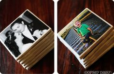 diy photo tile coasters using resin. very clever, inexpensive idea for wedding, new baby, graduation, anniversary...