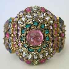 "Vintage 1940's Hobe Victorian Revival 2"" Wide Givre Art Glass Filigree Bracelet"