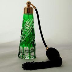 Czechoslovakian Bohemia Crystal Glass Perfume Atomizer Emerald Green Cut to Clear Bottle