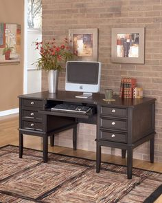 Ashley Furniture Signature Design - Carlyle Home Office Desk - 3 Drawers and 1 File Drawer - Contemporary - Almost Black Home Office Desks, Home Office Furniture, Dining Furniture, Home Furniture, Furniture Logo, Furniture Sets, Solid Oak Desk, Parks Furniture, Ashley Home