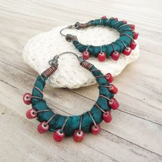Silk Road Gypsy Hoop Earrings Small Eclectic Teal por GypsyIntent