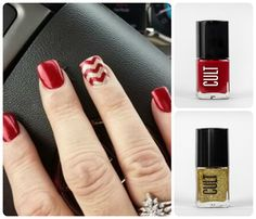 Red and Gold Chevron Nails