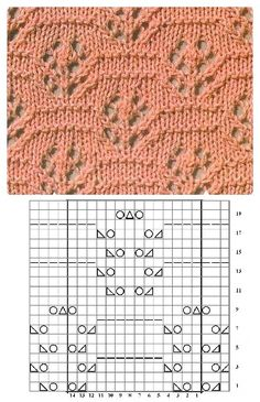 Ajour Crochet Stitches Patterns, Lace Patterns, Stitch Patterns, Knitting Patterns, Knitting Charts, Lace Knitting, Knitting Stitches, Knitted Blankets, Lana