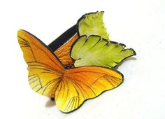 Leather bracelet with orange butterfly SALE by julishland on Etsy, $14.00  Closure: black elastic cord  Size: 7'' x 1'' (18 x 2.5 cm)