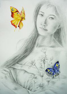 Pencil & Poster Color on Peper by Sittichai Pijitam (cycnas) Poster Colour, Painting Prints, Art Drawings, Pencil, Butterfly, Sculpture, Fine Art, Paper, Color