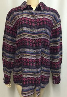 Chicos Design Shirt 3 16/18 Women  Aztec Geometric India Top Southwestern Cotton #ChicosDesign #ButtonDownShirt #Casual