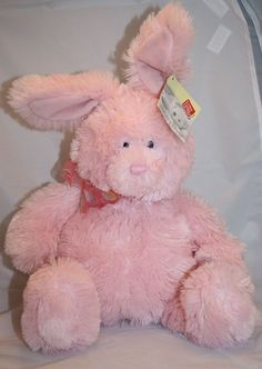 Pink Bunny Rabbit Musical Here Comes Peter Cotton Tail plush Gund Nursery Rhyme #Gund #Easter #HereComesPeterCottonTail #StuffedAnimal