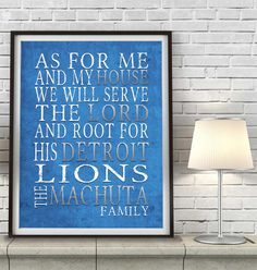 "Detroit Lions football inspired Personalized Customized Art Print- ""As for Me"" Parody- Unframed Print"