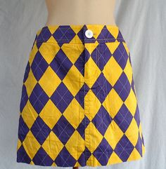 Loud Mouth Golf Womens Skort Skirt Purple & Gold Argyle Button Front Size 4  #LoudmouthGolf