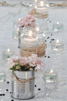DIY - Small flower vases with cans! 20 ideas insp - flower ideas - DIY – Small flower vases with cans! 20 ideas insp DIY – Small flower vases with cans! Wedding Centerpieces, Wedding Decorations, Pink Table Decorations, Centerpiece Ideas, Table Centerpieces, Vintage Decorations, Valentine Decorations, Decor Wedding, Rustic Wedding