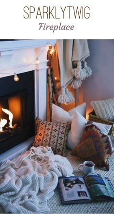 Welcome to our SparklyTwig Fireplace board! Find cozy mantle inspiration, relaxing pillow and blanket set ups, and plenty of adorable socks by the fire.