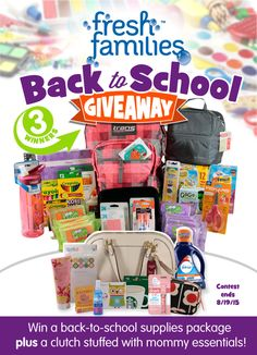 Enter this huge Back to School giveaway from some of your favorite brands and bloggers! Three winners will take home a backpack loaded with school supplies - including Boogie Wipes. Plus a mommy clutch - full of everything mom needs to make the start of the school year as easy as possible - including a $25 Target gift card, a $25 Starbucks gift card, Downy Wrinkle Releaser Plus, a Dreft To-Go Instant Stain Remover Pen  and Febreze In-Wash Odor Eliminator.
