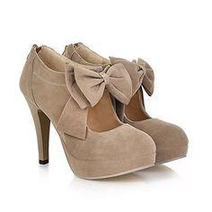 Fashion Vintage Womens Small Bowtie Platform Pumps Ladies Sexy High Heeled Shoes.  http://amzn.to/2kSFcKM