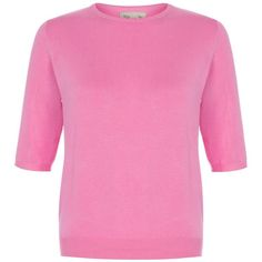 'Onassis' Bubblegum Pink Sweater ($32) ❤ liked on Polyvore featuring tops, sweaters, pink, crewneck sweater, elbow sleeve tops, pink top, pink sweater and elbow length tops