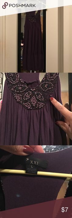 🚨SALE🚨Jeweled purple top with beading Have this top for a few years. Super cute and flatter with a pair of jeans! Open to offers. Beading is missing (shown in picture) when I bought it, but it never stopped me from wearing it! Discounted from my standard pricing. Forever 21 Tops Tank Tops