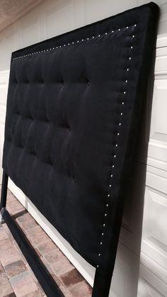 Suede Black Headboard King by ModernDesignsInc on Etsy Diy Tufted Headboard, Bed Headboard Design, Black Headboard, Leather Headboard, Bedroom Bed Design, Headboards For Beds, Home Decor Bedroom, King Headboard, Diy Home Decor