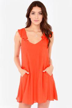 Huntingbird Into the Waves Orange Dress at LuLus.com!