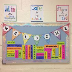 First day of school bulletin board. Welcome in different languages