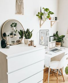 White Room Interiors Design Ideas for the Color of Light, You Must Try In 2020 - Page 4 of 59 - Life Tillage White Room Decor, Cute Bedroom Decor, Study Room Decor, Room Design Bedroom, Room Ideas Bedroom, Bedroom Inspo, Small Room Bedroom, Teen Bedroom Desk, White Office Decor