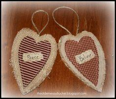 Burlap and Linen Heart  Country Christmas Ornaments. $5.25, via Etsy.