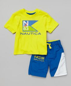 This Yellow 'Nautica' Tee & Blue Shorts - Infant & Toddler is perfect! #zulilyfinds