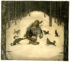 scandinavian fairy tales - John Bauer (It was almost impossible to stand these barking, howling rascals.).