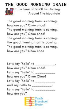 Kids love this train-themed hello song! Hello Songs Preschool, Hello Song For Kids, Kindergarten Songs, Preschool Music, Hello Hello Song, Preschool Good Morning Songs, Kindergarten Classroom, Classroom Ideas, Songs For Toddlers