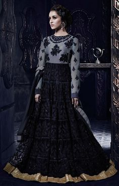 72p plus 7p 425874, Anarkali Suits, Bollywood Salwar Kameez, Net, Machine Embroidery, Resham, Stone, Zari, Border, Lace, Black and Grey Color Family